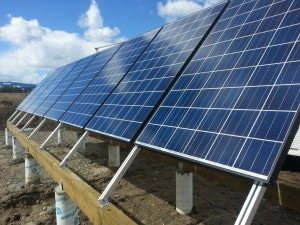 Hanwha solar panels on a ground out