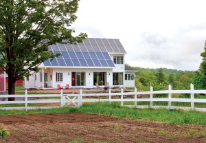 Large rural family home with a roof top solar power kits