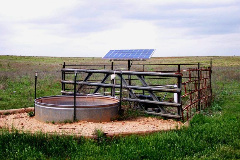 Remote solar power site pumping water for livestock