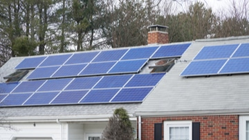 Solar power systems mounted on an urban home roof